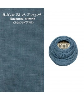 Belfast 32ct., Zweigart 3609/578,  блакитна ялинка