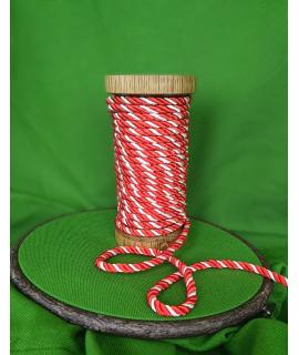 Декоративний двоколірний шнур для рукоділля , червоно-білий.