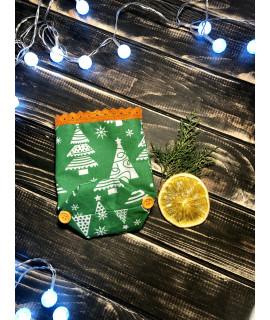 Подарункова торбинка 16х12см зелений з гудзиками