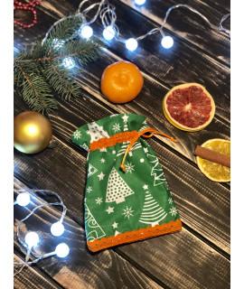 Подарункова торбинка 17х13см зелений з помаранчевим мереживом та жгутом